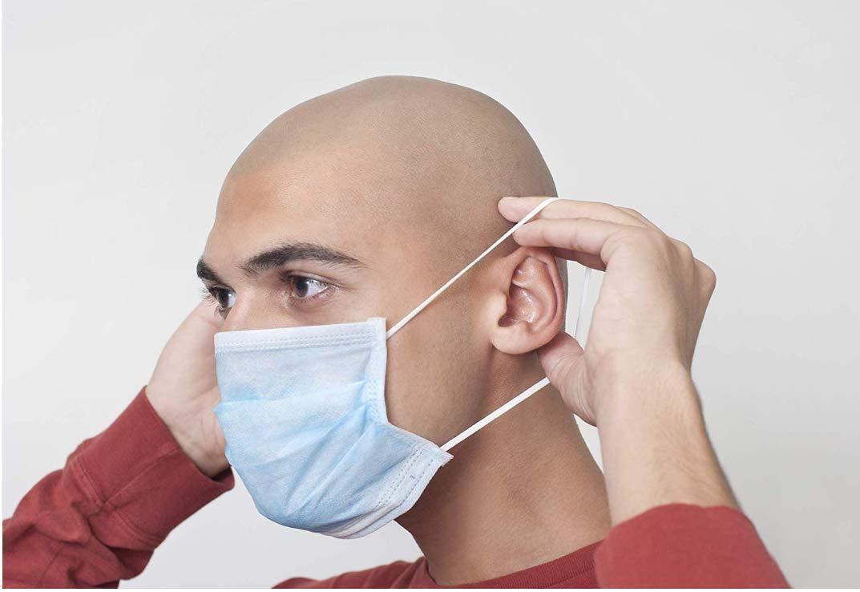 M/áscara desechable Gancho para la oreja trenzado Polvo M/áscara quir/úrgica Mascarilla protectora-Azul