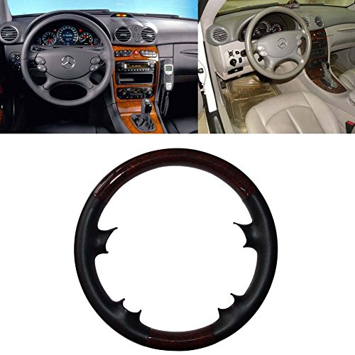 Mercedes Wood Leather Steering Wheel (Black Leather Brown Wood Steering Wheel Protector Cover Cap for Mercedes Benz 2006-2009 W211 E E350 E500 E550 etc.)