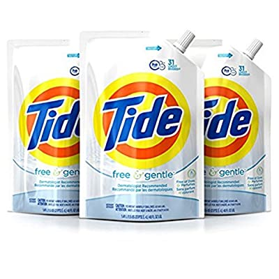 Pack of 3 Tide Smart Pouch Free & Gentle HE Gentle On Skin Liquid Laundry Detergent, 48 oz, 93 loads