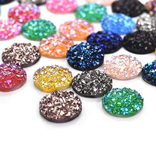 100Pcs 12mm AB Plated Resin Imitation Glitter Druzy Circle Flat Back Cabochons Mermaid Deco Jewelry Making Mix ()
