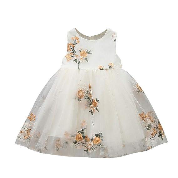 Vestidos de Bautizo Bebe niña con Tul Vestido Vestido Floral ...