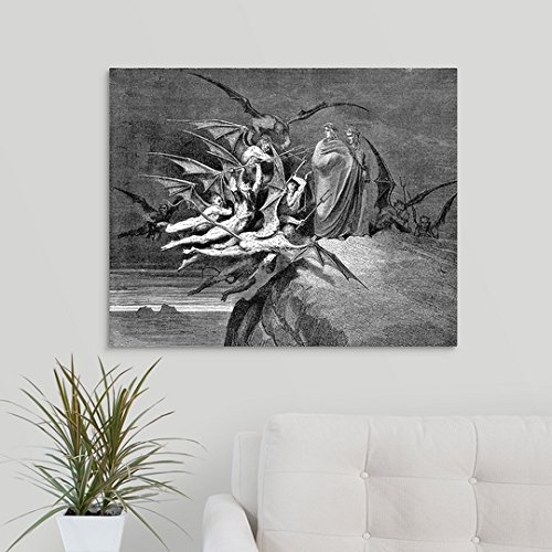 Canvas on Demand Premium Thick-Wrap Canvas Wall Art Print entitled Dante and Virgil beset by demons 30''x24''