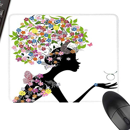 Taurus Rectangle Mouse Pads Floral Head Woman Silhouette with Horns Earth Venus Astronomy Birthday Illustration Laptop Desk Mat, Waterproof Desk Writing Pad 11.8