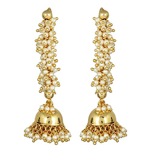 MUCH-MORE Indian Lovely Style Gold Plated Party Wear Polki/Jhumka Earring Jewelry for Women (7513)