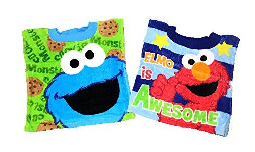Sesame Street Terry Bib - Sesame Street Elmo Cookie Monster Baby Bibs- 2 Piece Pack (Green cm/Elmo Blue Stripes)