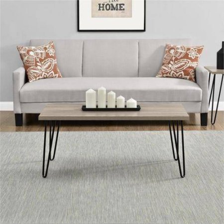 Mainstays Rustic Oak Clean Industrial Appearance Slim Retro Coffee Table  Designed To Fit Into Compact Spaces