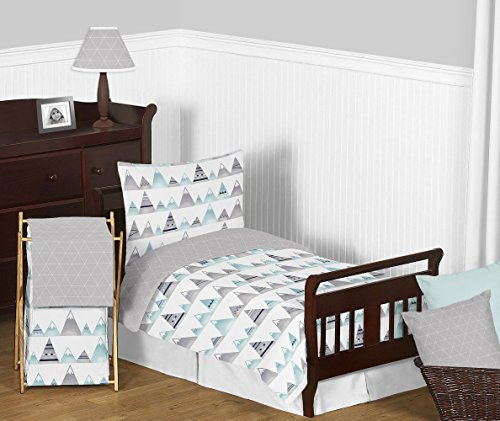 Sweet Jojo Designs 5-Piece Navy Blue, Aqua and Grey Aztec Mountains Boy or Girl Toddler Kid Childrens Bedding Set s Comforter, Sham and Sheets from Sweet Jojo Designs