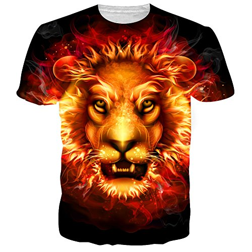 RAISEVERN Mens T-Shirts Fire Lion Print Short Sleeve Casual Graphic Tees M