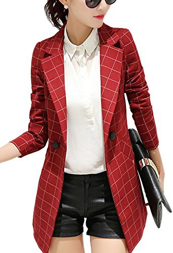 - Enlishop Womens Vintage Check Plaid Long Sleeve Casual Long Jacket Blazer, US 8,ASIAN 2XL, Red