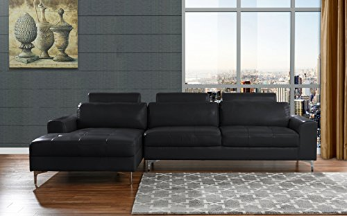 Modern Large Leather Sectional Sofa, L-Shape Couch with Extra Wide Chaise Lounge (Black) (Real Leather Black Sectional Sofa)
