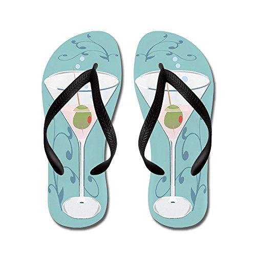 Cafepress Martini - Slippers, Grappige Leren Sandalen, Strand Sandalen Zwart
