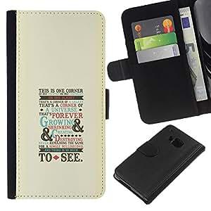 LECELL--Cuero de la tarjeta la carpeta del tirón Smartphone Slots Protección Holder For HTC One M7 -- Oldschool Guión --