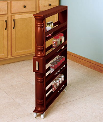 - Brown Wooden Spice Seasoning Can Rack Slim Rolling Cart Space Saver Organizer Shelf Storage Kitchen Organization Fits Between Cabinets and Refrigerator by KNL Store