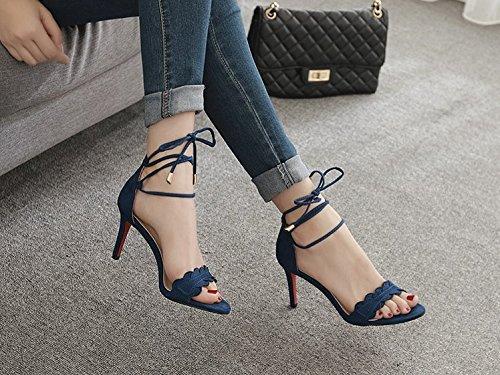 Moda Azul correspondencia Fina la Transpirable elegante sexy Sandalias Los 37 36 7cm talones Ajunr con Tie Toda zapatos dqgZdx