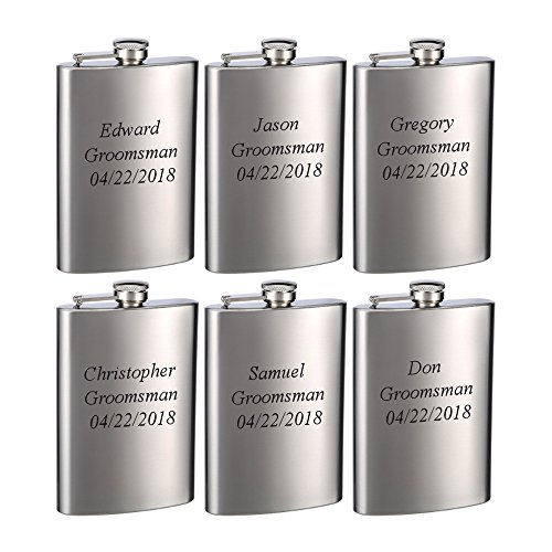 Top Shelf Flasks 6 Pack of Laser Engraved 8oz Groomsman Flasks -