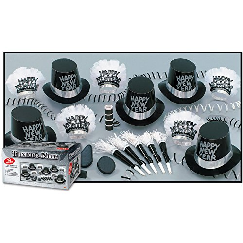 Tuxedo-Nite New Years Eve Party Kit Assortment for 10