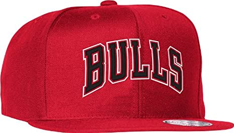 feae6730673 Chicago Bulls Mitchell   Ness Red  quot Wordmark quot  Wool Solid Snapback  Hat