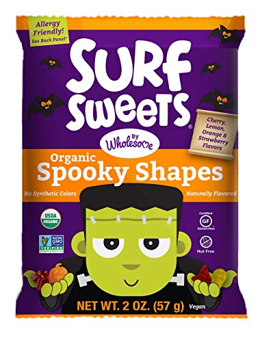 Surf Sweets Organic Fruit Snacks by Wholesome - Halloween Trick or Treat Candy Bags, 12-2 Ounce Pouches with Spooky Shapes in Cherry, Lemon, Orange and Strawberry Flavors - Gluten-Free, Non-GMO -
