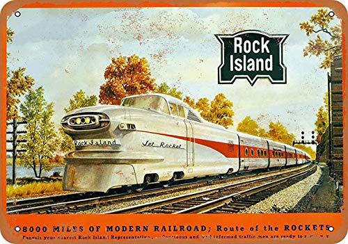 Railroad Island Rock (Weytff 8 x 12 Metal Sign - Rock Island Railroad Aerotrain Pub Home Decor Metal Tin Sign)