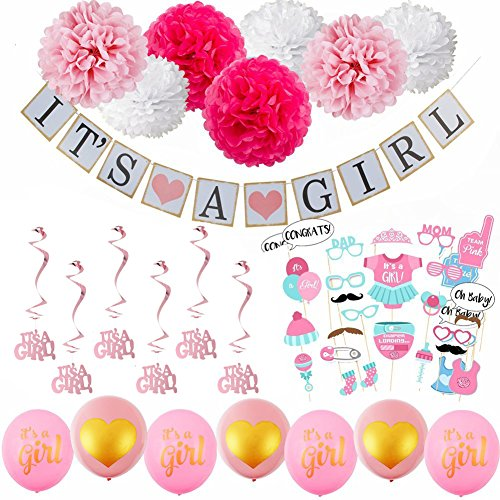 52pcs Baby Shower Decorations for Girl - Includes matching 'Its A Girl' Banner & Balloons, Cute Photo Booth Props, Pink & White Flower Decor, AND MORE! Perfect All In One Decoration Bundle