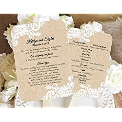 Burlap and Lace Personalized Wedding fan program/Wedding fans/Programs/Wedding Program/Wedding program fans/Wedding favors/Rustic Wedding/Burlap and Lace, Sold in sets of 10