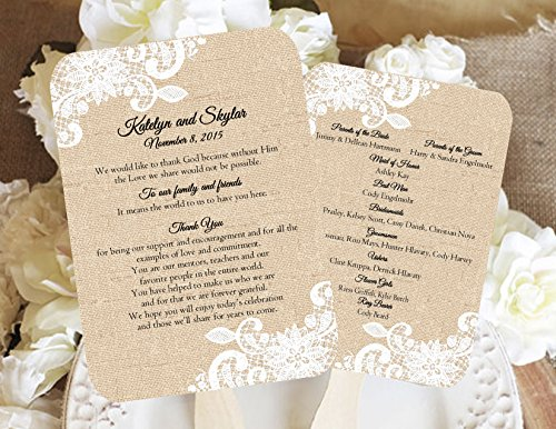 Burlap and Lace Personalized Wedding fan program/Wedding fans/Programs/Wedding Program/Wedding program fans/Wedding favors/Rustic Wedding/Burlap and Lace, Sold in sets of 10 -