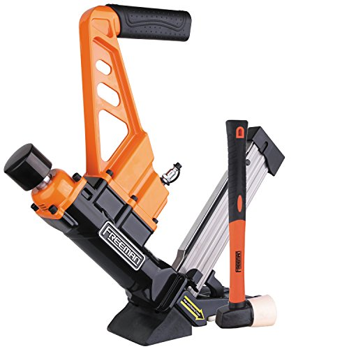 Freeman PDX50C Lightweight Pneumatic 3-in-1 15.5-Gauge and 16-Gauge 2 Flooring Nailer and Stapler Ergonomic and Lightweight Nail Gun for Tongue and Groove Hardwood Flooring