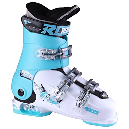 Black Kids Ski Boots - Roces Idea Free G Girls Ski Boots - 22-25/White-Light Blue-Black