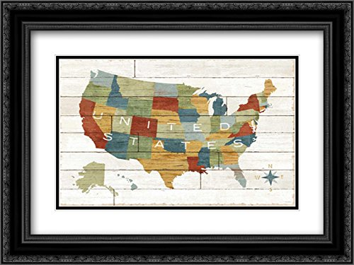 Barnboard Map 18x13 Black Ornate Frame and Double Matted Art Print by Schlabach, Sue