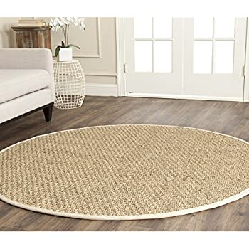 Safavieh Natural Fiber Collection NF114J Basketweave Natural And Ivory  Seagrass Round Area Rug (8u0027 Diameter)