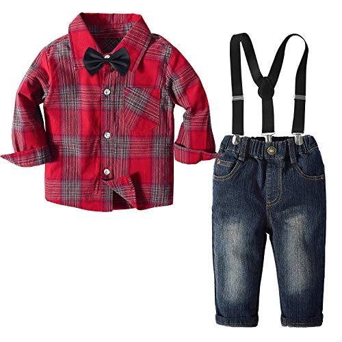 Traje Informal de otoño para bebés pequeños, Pantalones a Cuadros para niños, Pajarita, Tirantes Desmontables, Botones…