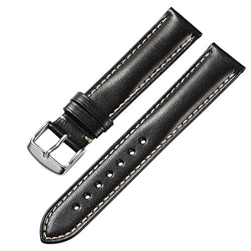 iStrap 18 19 20 21 22 24mm Genuine Calfskin Leather Watch Band Padded Strap Steel Spring Bar Buckle Super Soft(Six Color Choose)