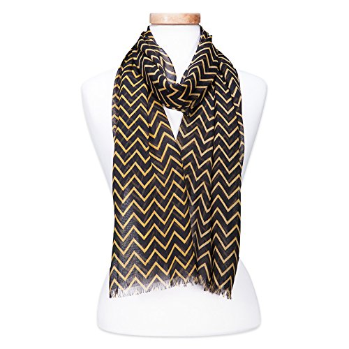 (Tickled Pink Women's Game Day Sports Team Apparel Scarf or Wrap, Double Stripe Chevron/20x74