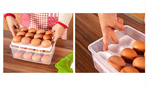 RMay Store HOTUMN Egg Carrier Egg Container 2 Tiers Eggs Holder with Handle Holds 24 Eggs for Refrigerator Freezer Storage (Green) by RMay Store (Image #3)