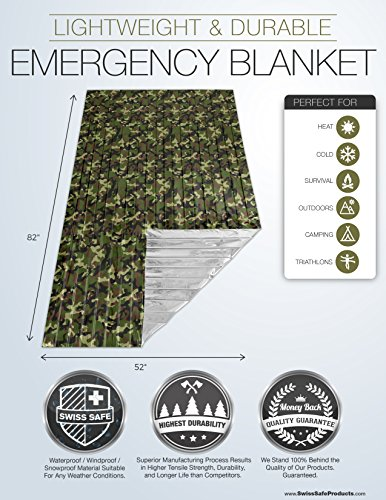 Emergency Mylar Survival Blankets (4-Pack) with Military Camouflage Colors – Perfect for Outdoor Camping, Hiking, Survivalist, Shelters, Preppers, Hunting, First Aid Kit