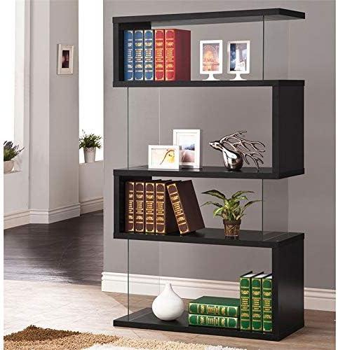 Editors' Choice: Bowery Hill Cool Modern 4 Shelf Asymmetrical Snaking Bookcase