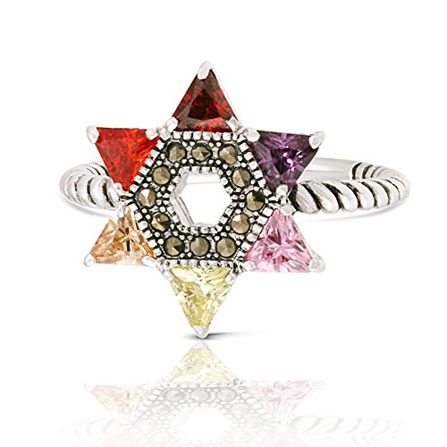 JanKuo Jewelry Rhodium Plated Multicolor Cubic Zirconia Jewish Star of David Twisted Rope Ring (10)