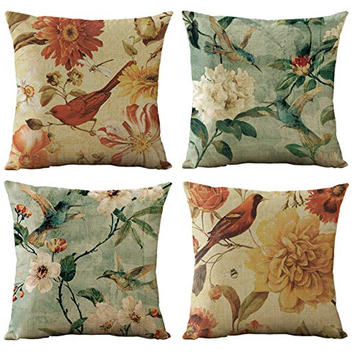 WOMHOPE Set of 4 Vintage Flower Decorative Throw Pillow Covers Pillow Cases Cushion Cases 18 x 18 Inch for Living Room, Couch and Bed (Yellow)