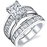 Sterling Silver 3 Carat Radiant Cut Cubic Zirconia Engagement Ring Wedding Bridal Set Rings With CZ 9