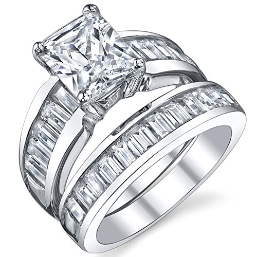 Sterling Silver 3 Carat Radiant Cut Cubic Zirconia Engagement Ring Wedding Bridal Set Rings With CZ 7