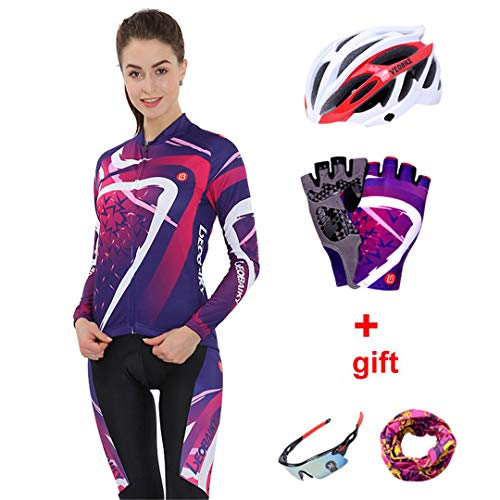BHJMKCSW Long Sleeve Cycling Sets Men Bike Clothing Cycle Autumn Women Cycling Kit Women Full set1 XL
