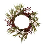 Glitzhome Hand-Made Cotton Berries Cypress Leaves Wreath Fall Harvest Decorations for Front Door 22 inches (Diameter)