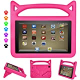 F i r e HD 8 Tablet Case for Kids, F i r e HD 8 Case - Auorld Light Weight Shock Proof Handle Friendly Stand Kid-Proof Case for All New F i r e 8 inch Display Tablet (2018&2017&2016 Release) (Pink)