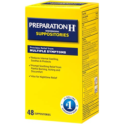 - Preparation H Hemorrhoid Symptom Treatment Suppositories, Burning, Itching and Discomfort Relief (48 Count)