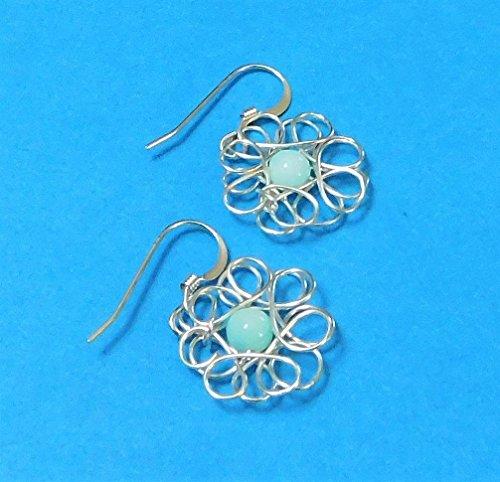 (Flower Earrings, Blue Peruvian Opals Wire Sculpture by Montour Designs)