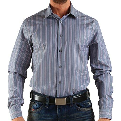 Calvin Klein 19C0975_653, Hemd, Shirt, Langarmhemd, Gr.39, graublau