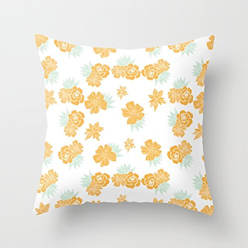 Petite Bouquet Pattern - Aminayo 18in Throw Pillowcase Set Petite Yellow Bouquet with Fresh Style Pattern