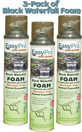 - 3-Pack of EasyPro Black Expandable Waterfall Foam Ready to use 20 oz Cans