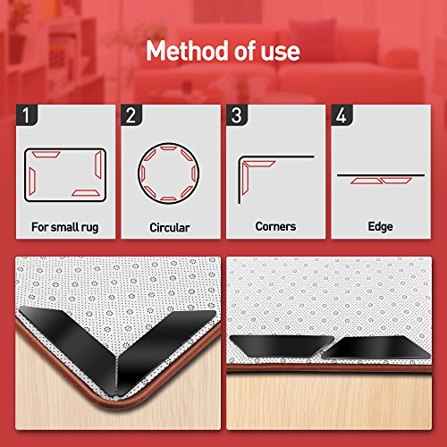 FaayFian 8pcs Large Anti Curling Rug Gripper, Keeps Your Rug in Place & Makes Corners Flat, Carpet Gripper with Renewable Gripper Tape, Ideal Anti Slip Rug Pad for Your Rugs by FaayFian (Image #6)