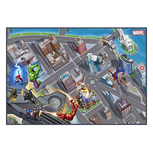 Gertmenian Avengers Superhero Rug Bedding Area Carpet, 5x7 Large, Navy Blue (Spiderman Rugs And Carpet)